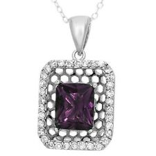 Purple Cubic Zirconia CZ Necklace 925 Sterling Silver 6.37 ctw Brand New ss