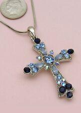 Blue Sapphire Cross Rhinestone Crystal Necklace Pendant