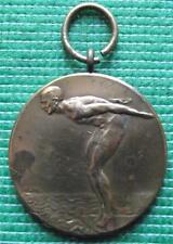 c1929 Art Nouveau Deco Diving Swimming Medal Netherlands by H Lindl Bronze E