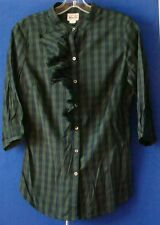EUC Delightful CONVERSE One STAR Ruffled BLOUSE Sz M Navy & Gren Sz S Made INDIA