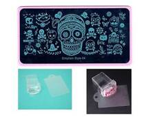 Nail Art Stamping Halloween Cat Skull Design Image Plate Stamper Scraper Kit NEW