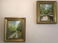 Vintage pair of gilt framed signed original oil paintings superb