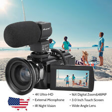WiFi 4K HD 2160P 16X Zoom Digital Video Camera Camcorder DV Nightvision+Mic+Lens