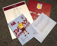Aston Villa v Manchester City Matchday Programme with teamsheet 12/01/2020!!!