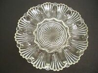DRESSED EGG PLATE DISH PRESSED GLASS 10''