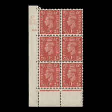Great Britain 1941 (MNH) 1d Pale Scarlet control P44, cylinder 106. block