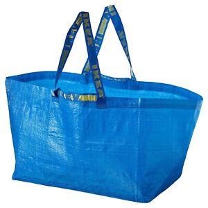 2 New IKEA Blue BAG IKEA LARGE Bag REUSABLE LAUNDRY TOTE STORAGE FRAKTA 19 Galon