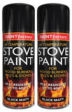 2 X Heat Resistant Matt Black Spray Paint Stove High Temp 600 degC 400ml
