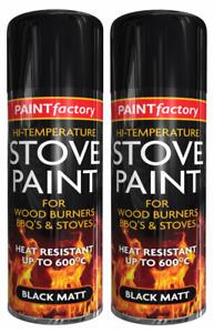 2 x HIGH TEMP BLACK STOVE SPRAY PAINT 600*C WOODEN BURNERS BBQ'S & STOVES  400ML