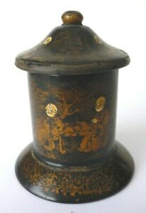 Rare Victorian C1840-1880 Papier Mache Chinoiserie Lacquer Go To Bed Match Safe