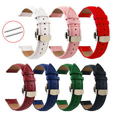 12mm-24mm Crocodile Style Watch Band Butterfly Clasp Genuine Leather Strap Belts