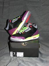 Girls Nike Air Jordan 3 Retro Gs Sz 7Y Black Atmoic Joker Purple 441140-039
