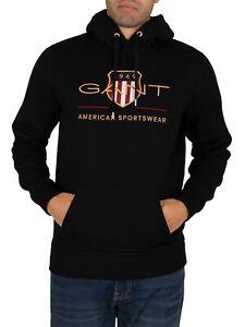 GANT Men's Archive Shield Pullover Hoodie, Black