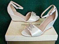 New MONSOON Ivory Uk 4 5 6 7 DIANA Crystal Satin Wedge Bridal Wedding Shoes RARE