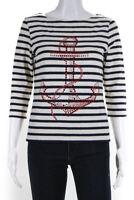 Saint James Womens Boat Neck Rhinestone Anchor Striped Shirt White Blue Size 10