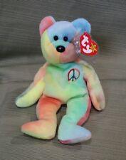 Ty  Beanie Baby PEACE the Ty-Dye  BEAR 1996 PVC  No # Stamp & w/Errors  MWMT