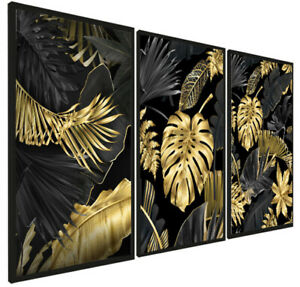 Set of 3 Modern Prints Pictures Framed Black Gold Leaf Wall Art Hang A3 FRAMED