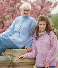 """Ladies Cabled Sweater Knitting Pattern with Crew or Roll neck Chunky 32-42"""" 1137"""