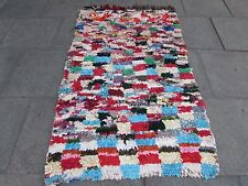 Old Hand Made Moroccan Boucherouite Cotton Fabric Colourful Rug 196x118cm