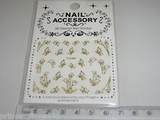 3D Nail tip Art stickers transfer water decals Gold Butterfly +  Flower TJ44