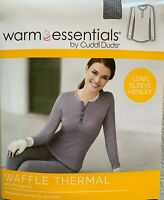 Warm Essentials Cuddl Duds Waffle Thermal Long Sleeve Henley Top ~ gray or blue