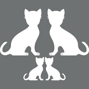 4 Cats Family Left+Right White Sticker Tattoo Deco Foil Car Window