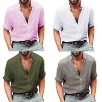 Men's Linen Long Sleeve Shirt Cool Loose Casual V-Neck Shirts Blouse Top P