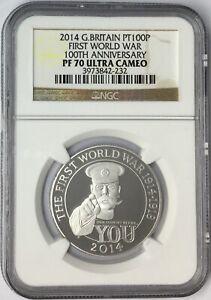 2014 Great Britain Platinum PT100P First World War NGC PF70 Ultra Cameo #T5