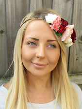 Cream Pink Red Rose Flower Ivy Leaf Garland Headband Hair Crown Bridal Boho 1916