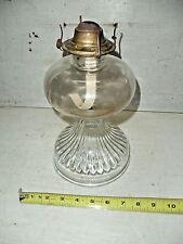 """Old Vintage Clear Glass Coal Oil Kerosene Lamp Hurricane Eagle Wick Holder 11"""""""