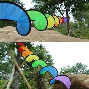 Rainbow Spiral Windmill Colorful Wind Spinner Tent Garden Home Decorations SW