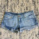 JUNK Women's Size 10 Blue Denim Cut Off Look Short Mini Shorts