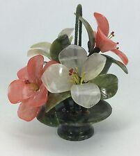 """Vintage Carved Quartz-Jade Gemstone Wire Flower Bouquet in Marble Basket Pot-7"""""""