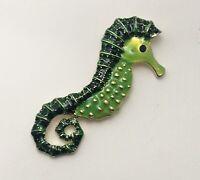Adorable  vintage style seahorse brooch in enamel on metal