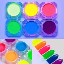 Fluorescent Neon Phosphor Pigment Powder Dust Glitter Set 6 Colors Born Pretty