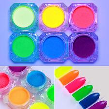 6 Boxes Nail Art Glitter Fluorescent Powder Pigment Powder BORN PRETTY DIY Set