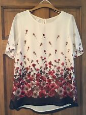 Monsoon Ivory Blush Lined Lucia Floral Top/blouse Size 10 - RRP £39