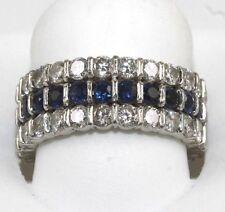 3 Row Round Blue Sapphire & Diamond Cluster Eternity Ring Band Platinum 3.40Ct