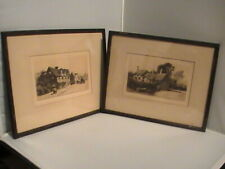 Pair Antique Engravings SHAKESPEARE HOUSE &  ANNE HATHAWAY COTTAGE WILFRID BALL