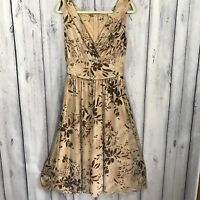Newport News Womens Dress Size Medium Sleeveless Lined Beige Brown
