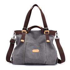 New Women Big canvas messenger bag casual tote crossbody shoulder bags hobo grey