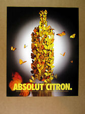1998 Absolut Citron butterfly vodka bottle photo print Ad