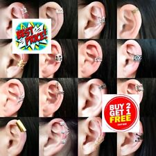 NON PIERCED CLIP ON EAR CUFF FAKE EARRINGS CARTILAGE HELIX RING WRAP SILVER GOLD