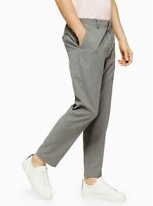 Ex TOPMAN Light Grey Marl Slim Fit Suit Trousers   W34 Long    (FS75-3 )