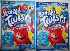 2 Vintage Kool-Aid Twists Packets Points Berry Blue Ice Raspberry Lemonade LOT 4