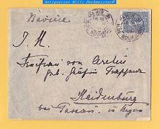 """Mi.111 auf Brief an """"Freifrau von Aretin geb Gräfin Rappenau"""" aus Paris n.Bayern"""