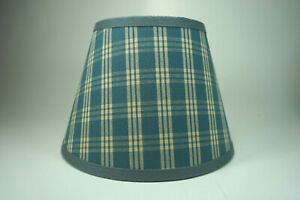 Country Waverly Delft Blue Cranston Plaid Fabric Lampshade Lamp Shade