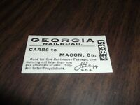 GEORGIA RAILROAD PASSENGER TRAIN TICKET CARRS, GA TO MACON, GA