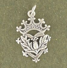 Thistle Charm Sterling Silver Pendant Luckenbooth Scotland Crown Leaf Heart
