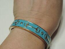 Equestrian Tack Bit design Hinged Clamper Bangle Bracelet Turquoise Enamel  3a 5